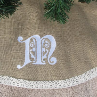 CrazyEmbroidery.com |Burlap Tree skirt Monogramed